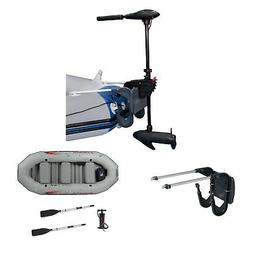 INTEX 12 Volt 8 Speed Trolling Motor, Mount Kit and 4-Person