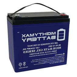 Mighty Max 12V 55AH GEL Battery for Power Boat Pontoon Elect