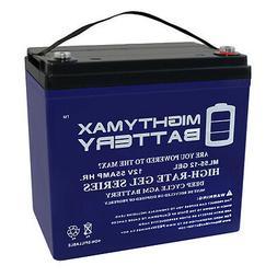 Mighty Max 12V 55AH GEL Battery for Minn Kota Endura Trollin