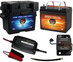 Boat Battery Kit: VMAX 12V 35ah AGM Battery + VMAX Marine Ba