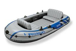 Intex Excursion 4, 4-Person Inflatable Boat Set with Aluminu