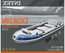 Intex Excursion 5 5-Person Inflatable Boat Set, Oars & Pump