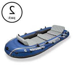 Intex Excursion 5 Person Inflatable Boat Set w/ 2 Oars, Air