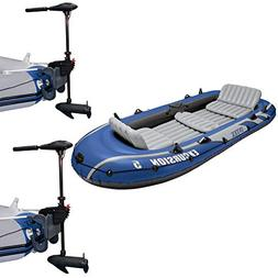 Intex Excursion 5 Person Inflatable Fishing Boat Set with 2