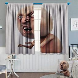 Humor Waterproof Window Curtain Scary Internet Meme with Why