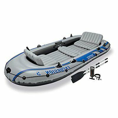 Intex Excursion 5, 5-Person Inflatable Boat Set with Aluminu