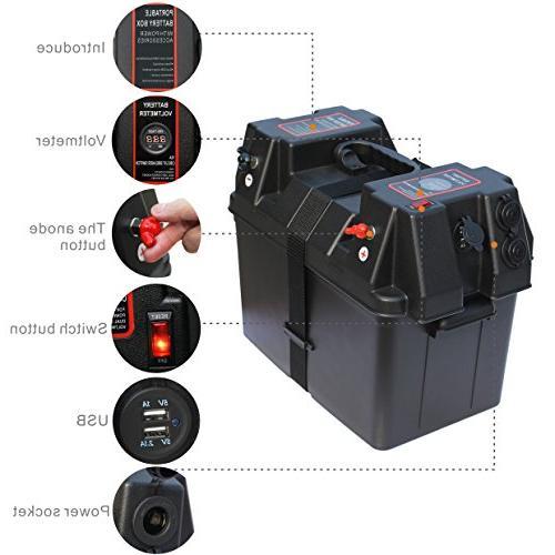 IZTOSS Power Center Battery Box Voltmeter,USB 12V Port