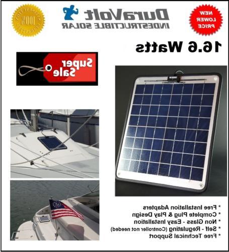 "NOW Watt 1.0 Amp Solar Charger - Marine Solar 12 Volt experience Plug & 15.7"" W 1/4"" Thick. 10'"