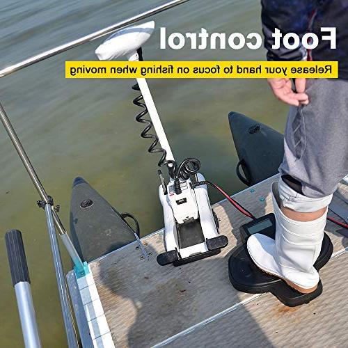 "White 12V 54""Shaft Bow Electric Foot Bracket for Fishing Freshwater Saving"