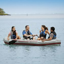 Mariner 4, 4-Person Inflatable Boat Set with Aluminum Oars a
