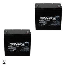 Mighty Max 2 Pack - 12V 55Ah SLA Battery for Minn Kota Endur