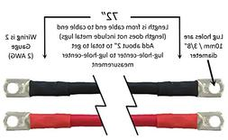 """Truck Upfitters 72"""" Pair of 2 AWG Black & Red Power Cables f"""
