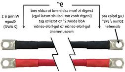 "Truck Upfitters 9"" Pair of 2 AWG Black & Red Power Cables fo"