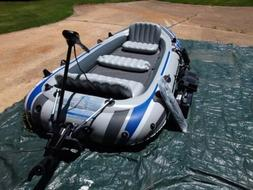 Raft inflatable intex 5 with trolling motor, 12v/120v inflat