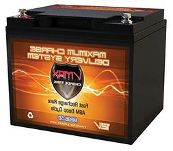 VMAX MR86-50 12V 50AH AGM Deep Cycle Battery  for Motorguide